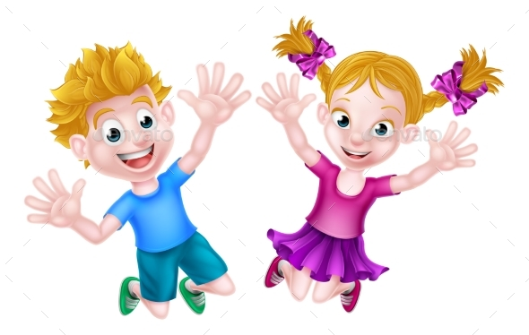 Happy Cartoon Boy and Girl Jumping - Miscellaneous Vectors
