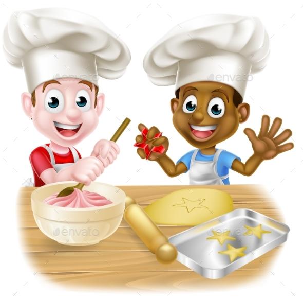Cartoon Kid Chefs Cooking - Miscellaneous Vectors