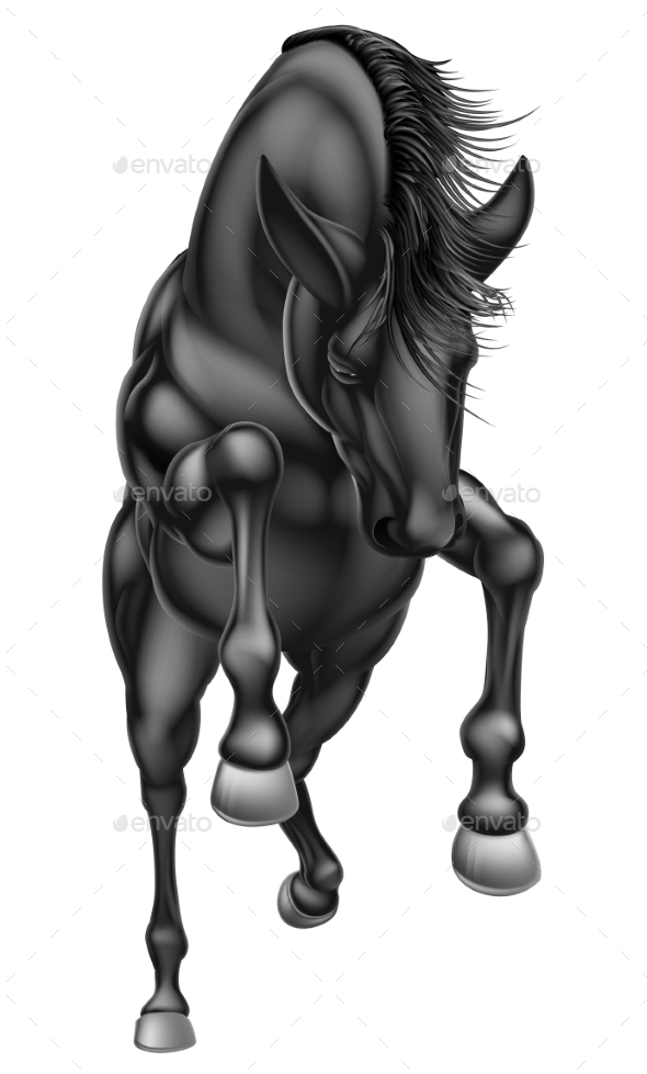 Black Rearing Horse - Animals Characters