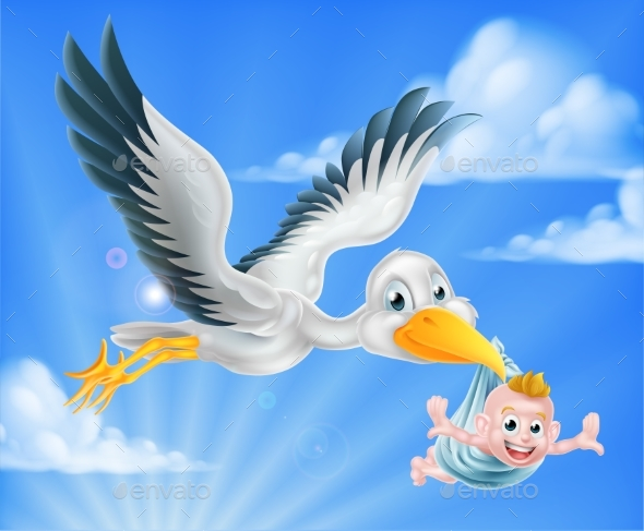Stork Flying Holding Baby - Animals Characters