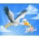 Stork Flying Holding Baby