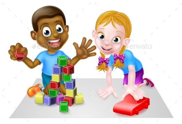 Cartoon Boy and Girl Playing with Car and Blocks - People Characters