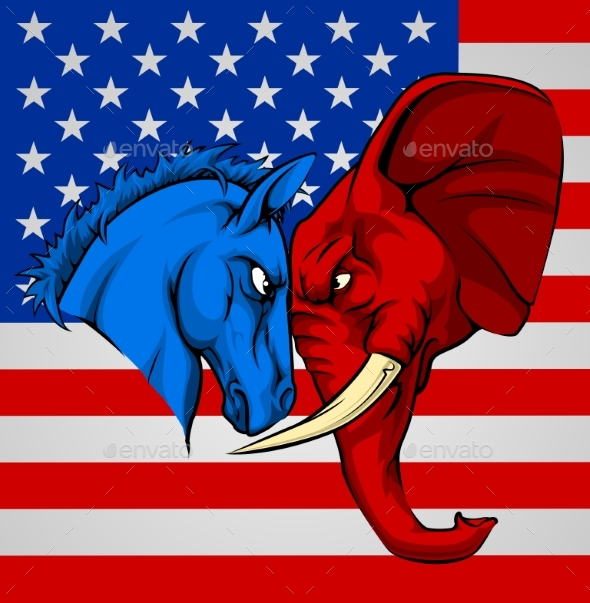 Elephant Donkey Democrat Republican Fight - Animals Characters
