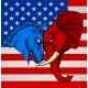 Elephant Donkey Democrat Republican Fight