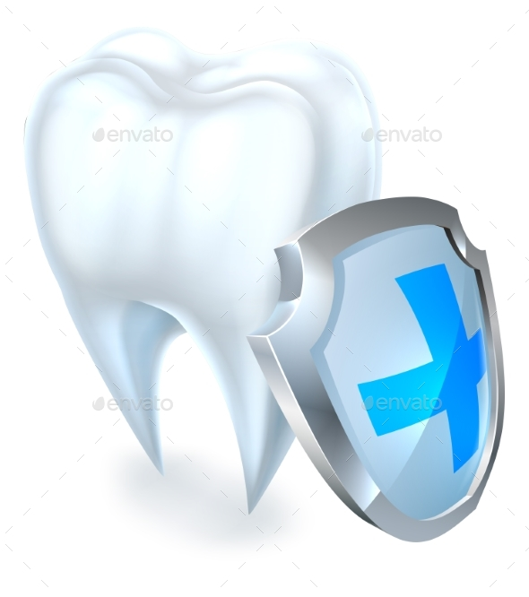 Tooth and Shield Protection Concept - Health/Medicine Conceptual