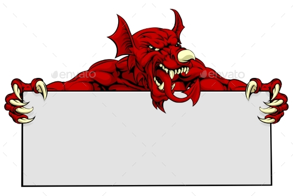 Welsh Dragon Sports Mascot Sign - Monsters Characters