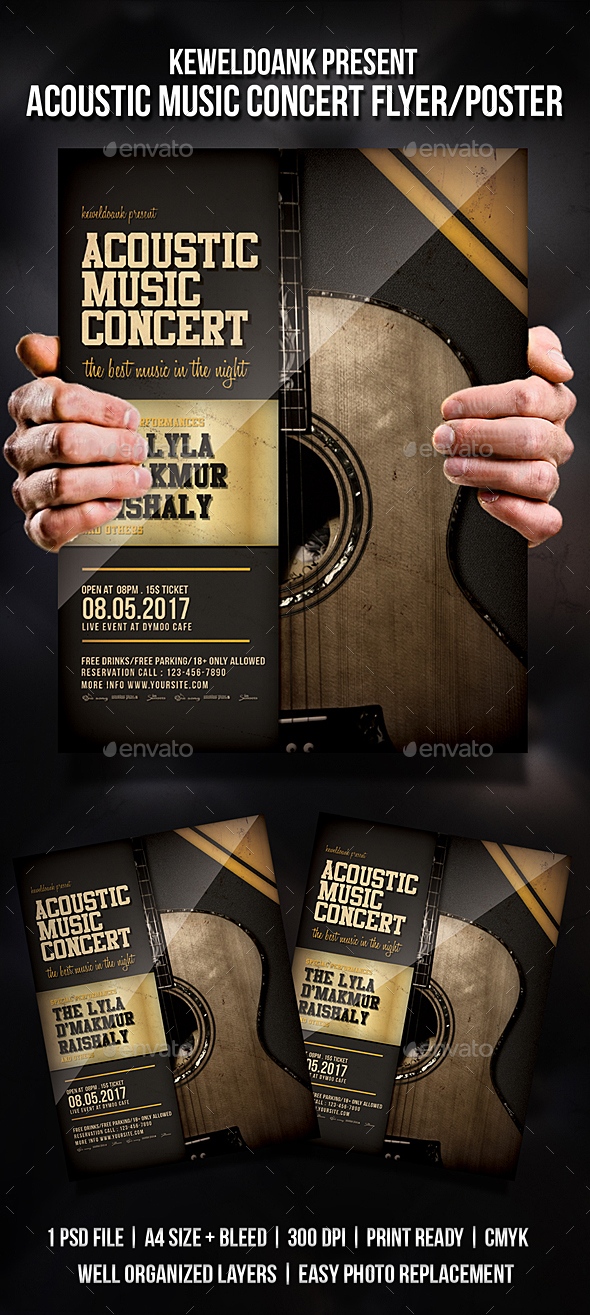 Acoustic Music Concert Flyer / Poster - Concerts Events