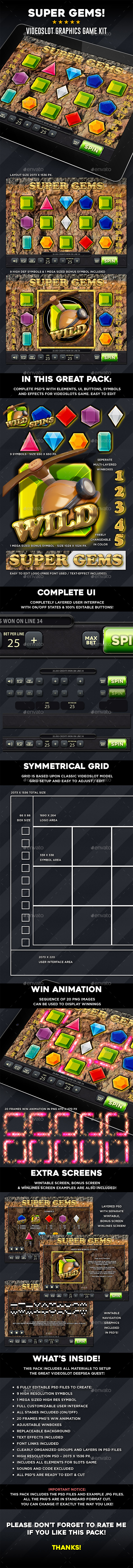 Videoslot Graphics Game Kit - Super Gems - Game Kits Game Assets