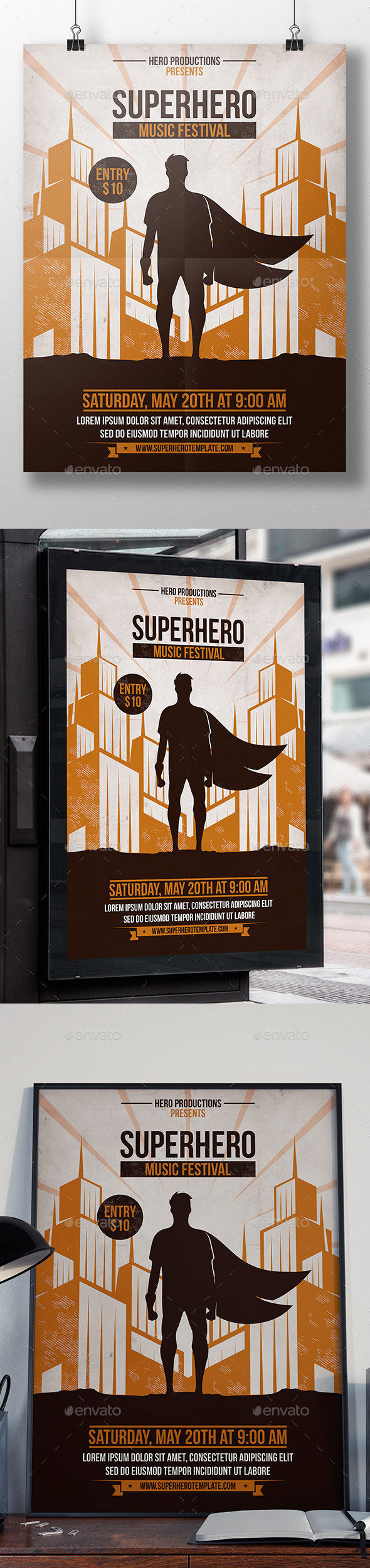 Superhero Party Flyer Template - Clubs & Parties Events