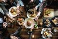 Friends all together at restaurant having meal - PhotoDune Item for Sale