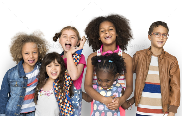 Group of diverse kids having fun together - Stock Photo - Images