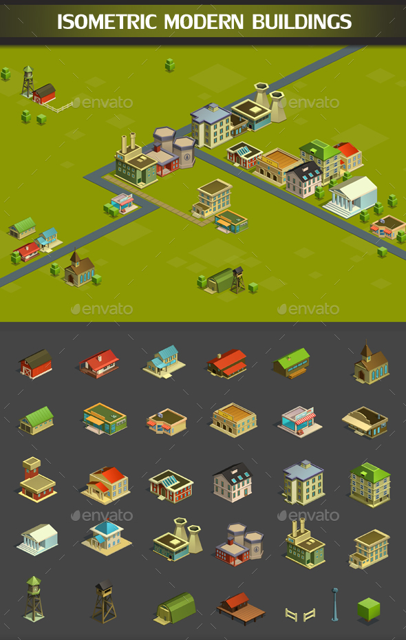 Isometric Modern Buildings - Miscellaneous Game Assets