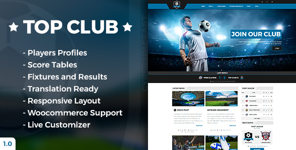 Top Club – Soccer and Football Sport Theme for WordPress