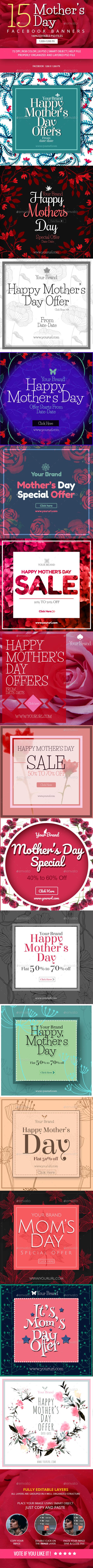 15 - Mothers Day Facebook Banner - Social Media Web Elements