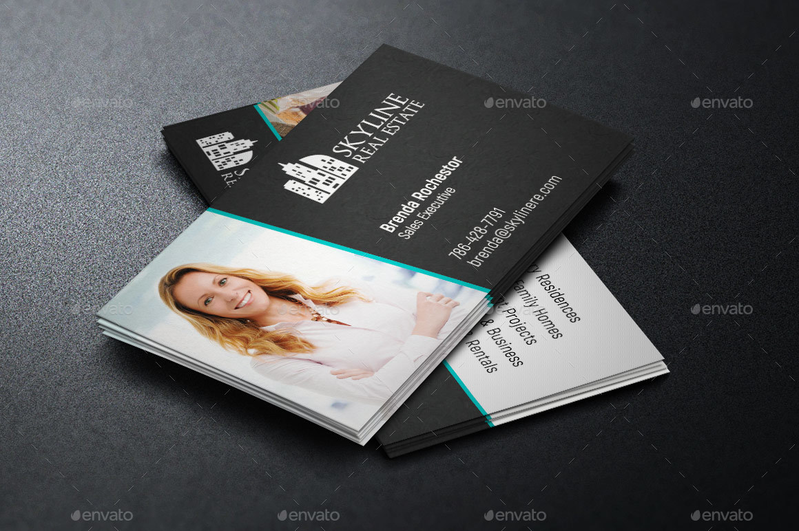 Real Estate Business Card Template By Godserv GraphicRiver - Real estate business card templates