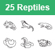 Reptiles & Amphibians Outlines Vector Icons - GraphicRiver Item for Sale