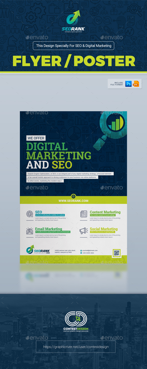Poster design company - Flyer Poster Template For Seo Search Engine Optimization Digital Marketing Agency