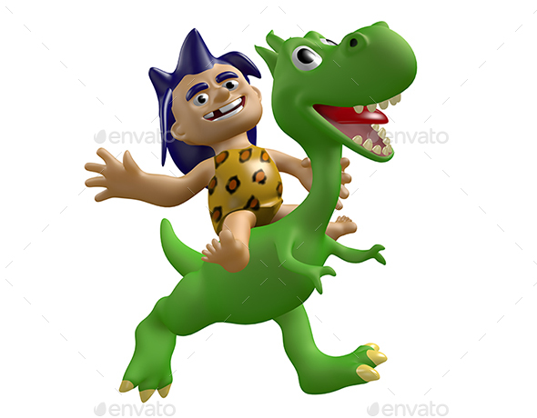 Cartoon Savage Boy Rides on a Cute Dinosaur - Characters 3D Renders