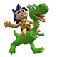 Cartoon Savage Boy Rides on a Cute Dinosaur - GraphicRiver Item for Sale