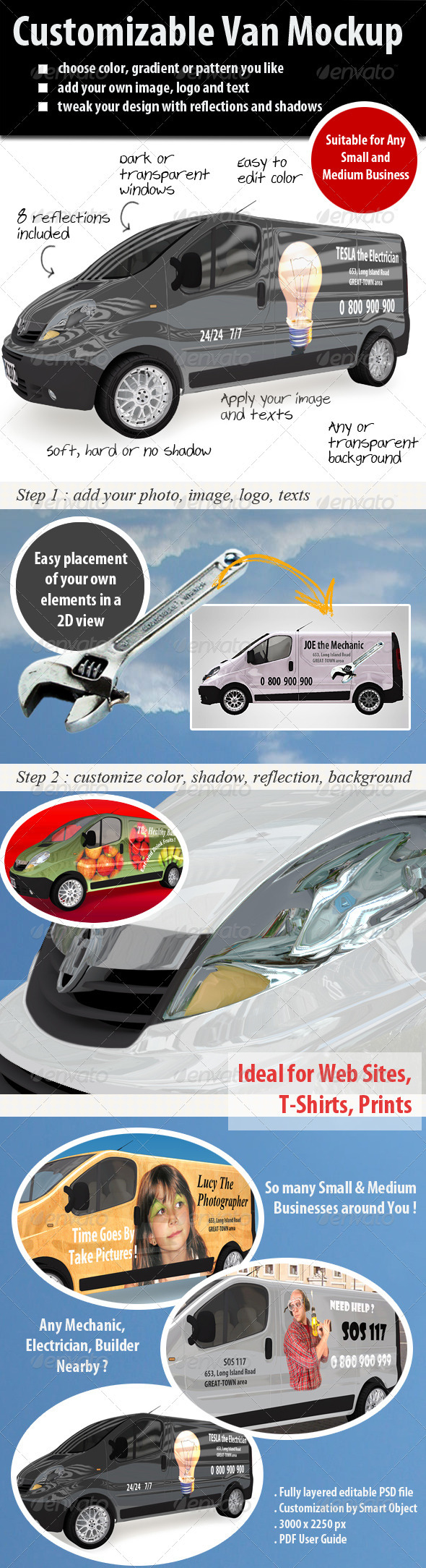Customizable Van Mockup - Vehicle Wraps Print