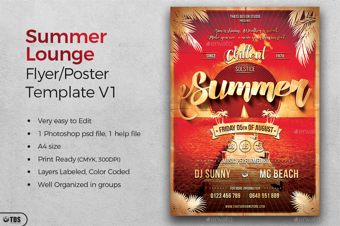Summer Lounge Flyer Template V1 by lou606 | GraphicRiver