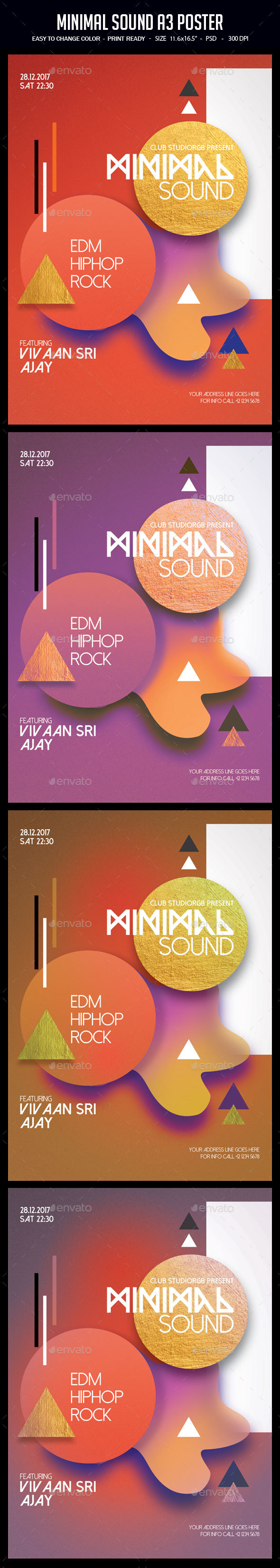 Minimal Sound A3 Poster - Clubs & Parties Events