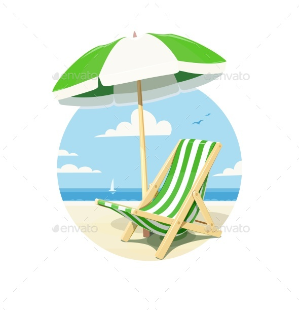 Beach Chair and Umbrella for Summer Rest - Vectors