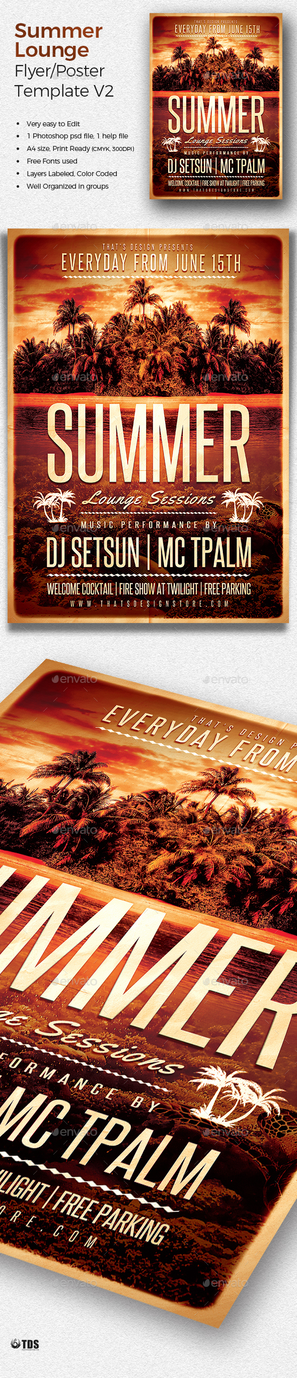 Summer Lounge Flyer Template V2 by lou606 | GraphicRiver