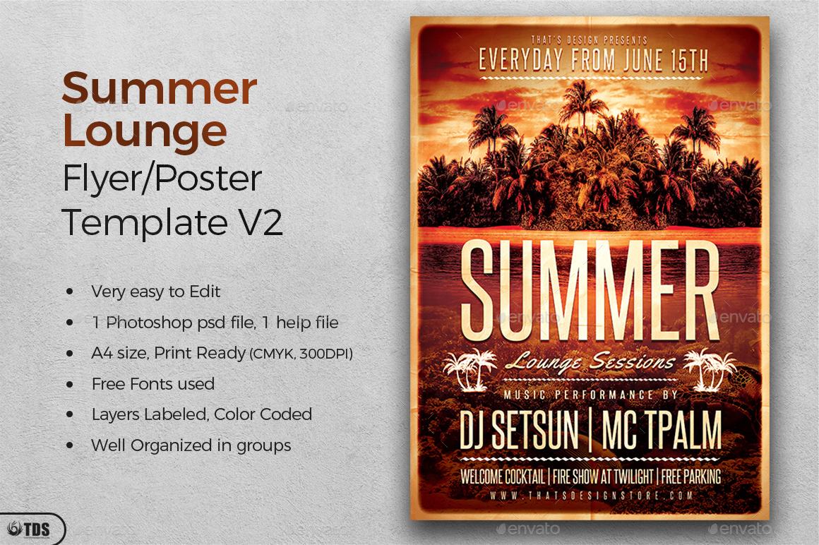 01_Summer Lounge Flyer Template V2 ... Ideas