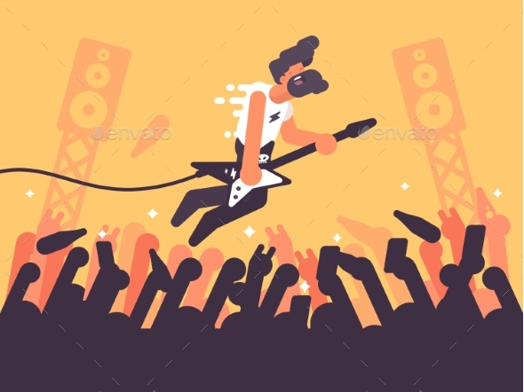 Rock Guitarist Plays at Concert - People Characters
