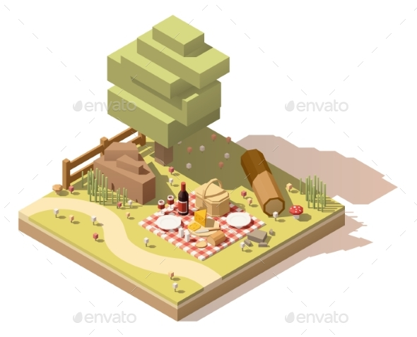 Isometric Low Poly Campsite - Food Objects