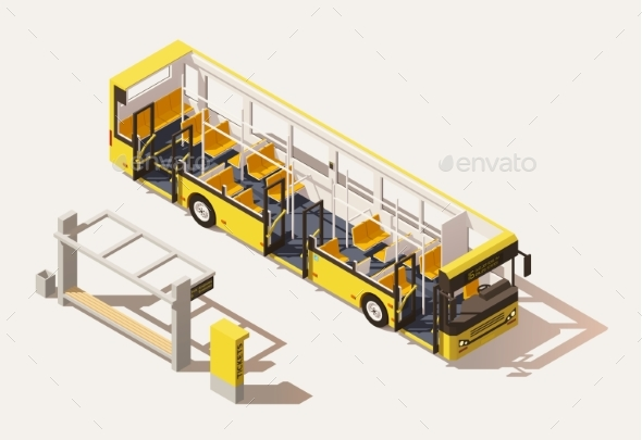 Isometric Low Poly Bus Cross-Section - Man-made Objects Objects