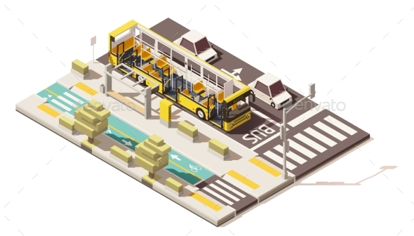 Isometric Low Poly Bus on the Bus Lane - Man-made Objects Objects