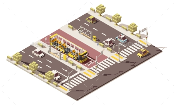Isometric Low Poly Dedicated Bus Lane - Man-made Objects Objects