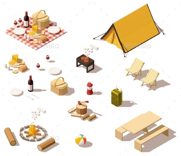 Isometric Low Poly Camping Equipment - Food Objects