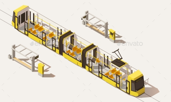 Isometric Low Poly Low-floor Tram - Man-made Objects Objects