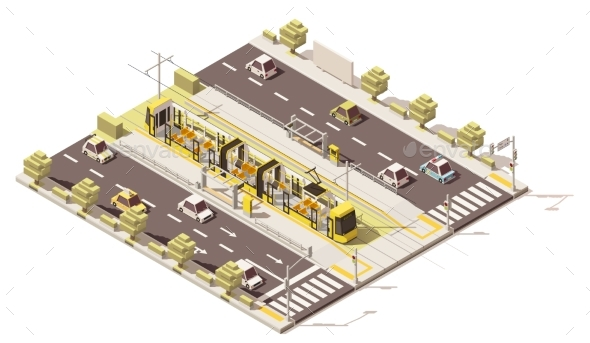 Isometric Low Poly Dedicated Tram Lane - Man-made Objects Objects