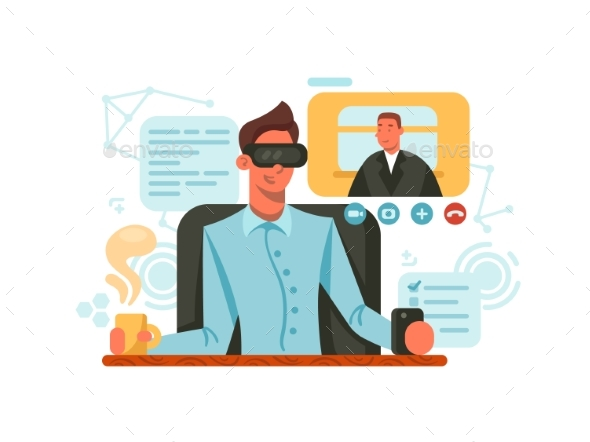 Guy with Glasses of Virtual Reality - People Characters