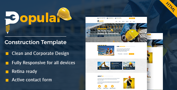 Popular – Construction and Builder HTML Template
