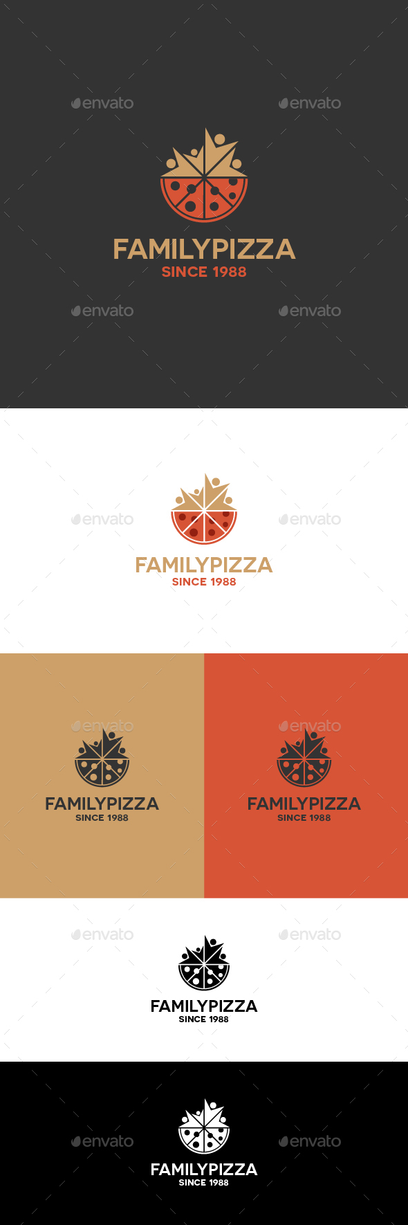 Family Pizza Logo Template - Food Logo Templates