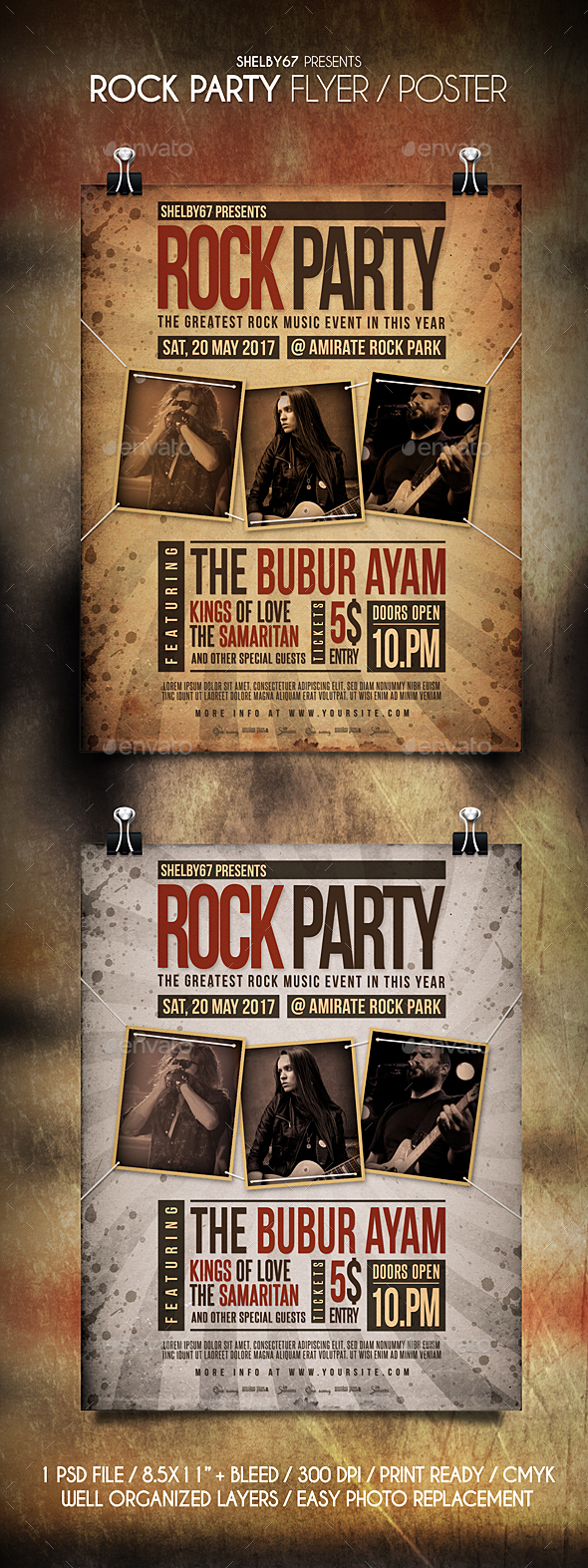 Rock Party Flyer / Poster - Events Flyers