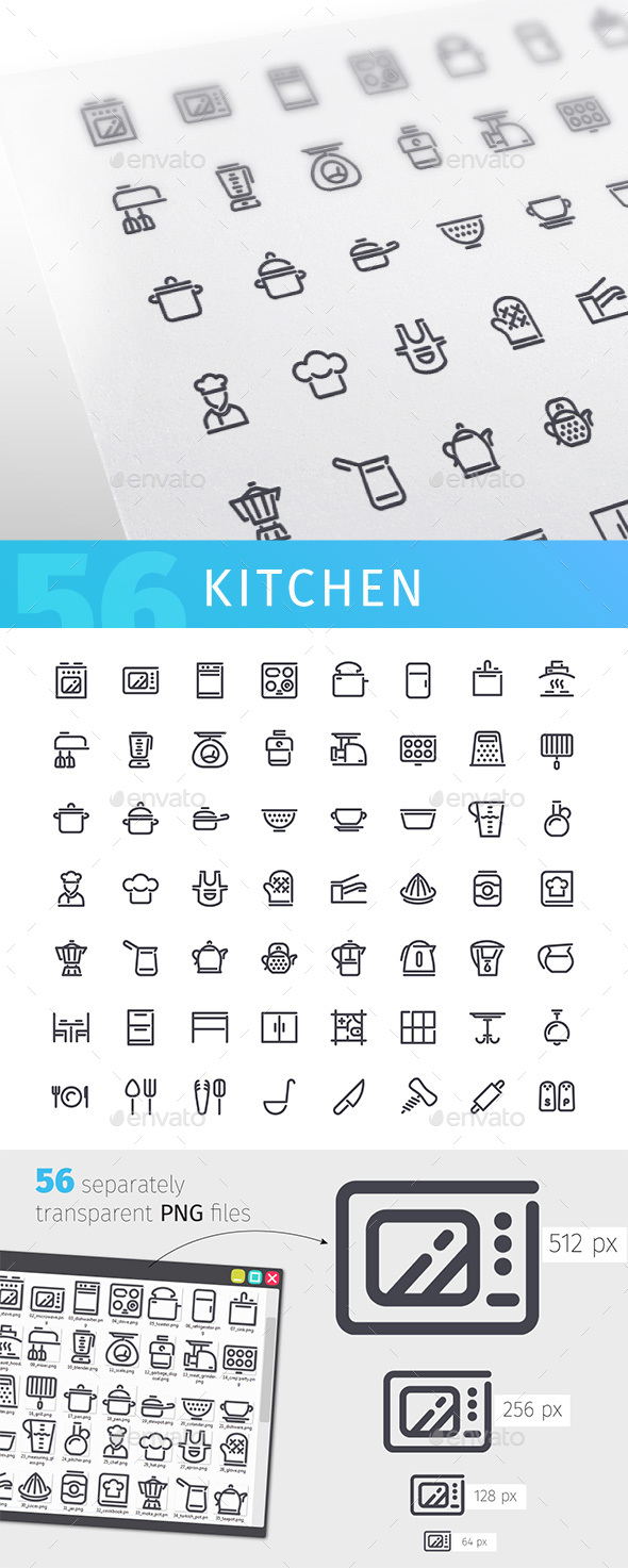 Kitchen Line Icons Set - Man-made objects Objects