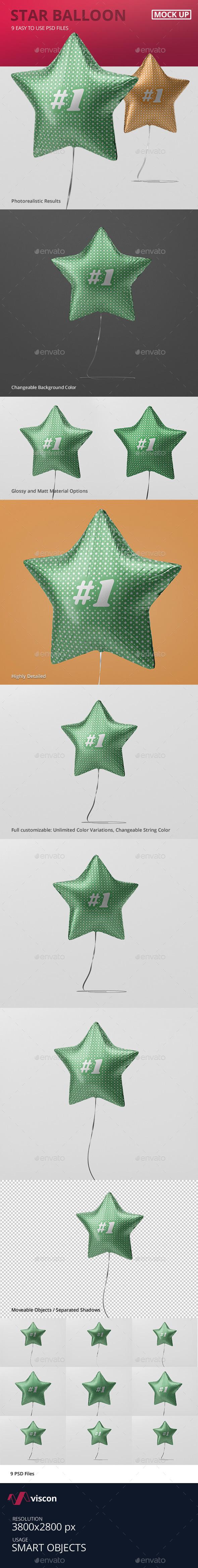 Star Balloon Mockup - Miscellaneous Print