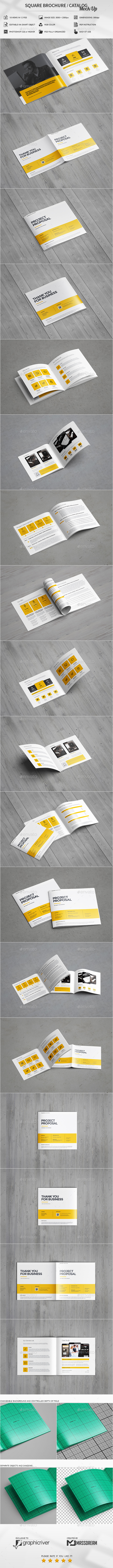 Square Brochure / Catalog Mock-Up - Magazines Print
