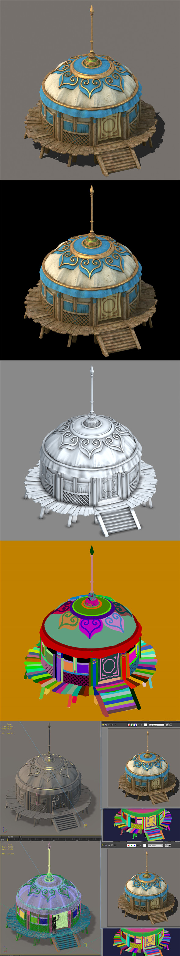 Grassland construction - tent 01 - 3DOcean Item for Sale