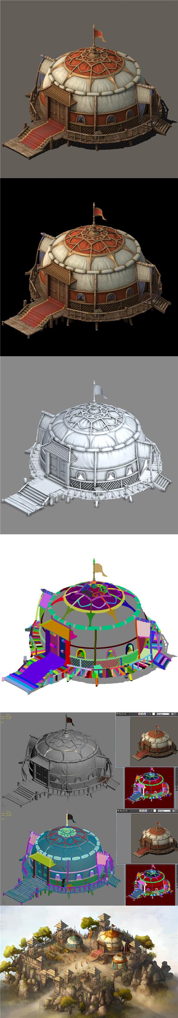 Grassland Building - Tent 03 - 3DOcean Item for Sale