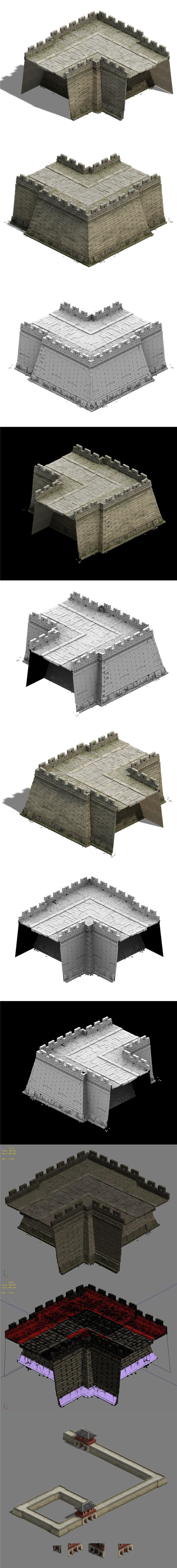 City Gate - City Wall - City Corner 02 - 3DOcean Item for Sale