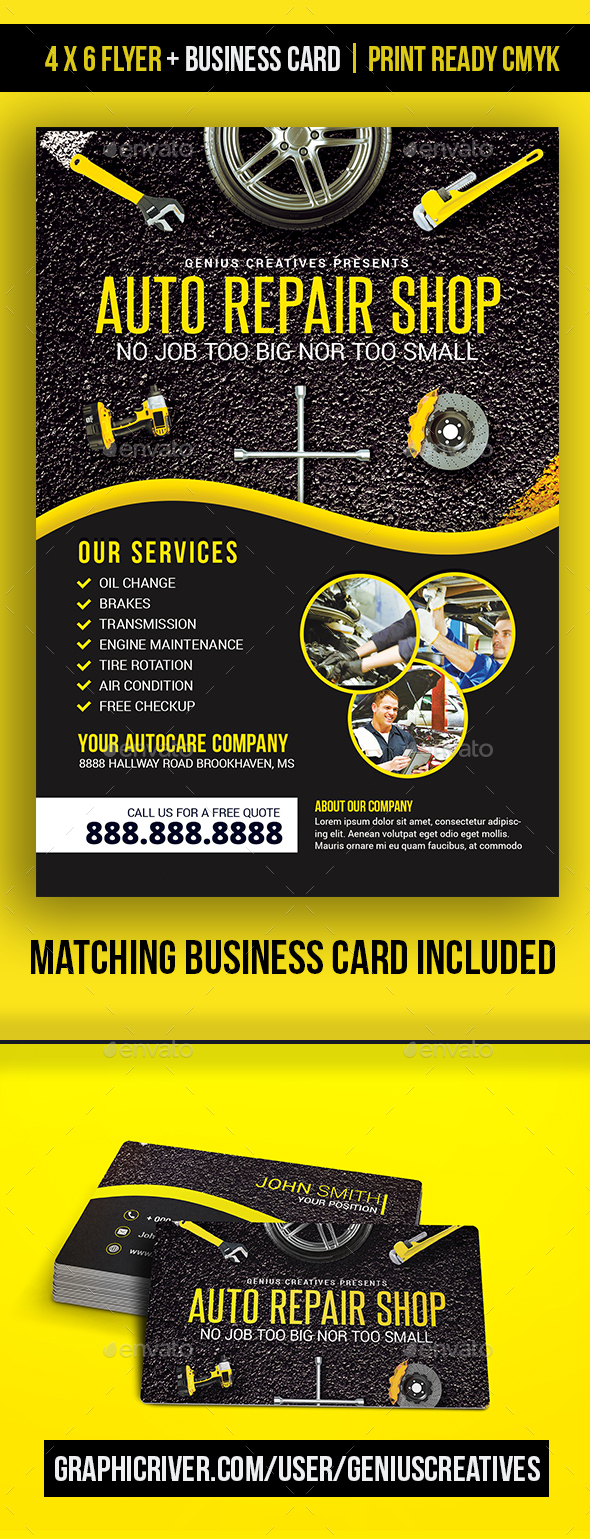 Auto Repair Mechanic Flyer Template - Corporate Flyers