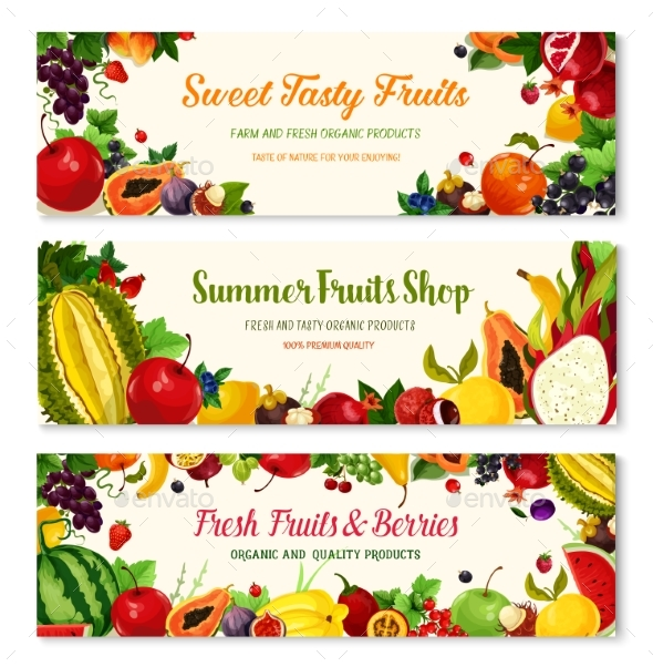 Fruits and Berries Vector Farm Banners Templates - Food Objects
