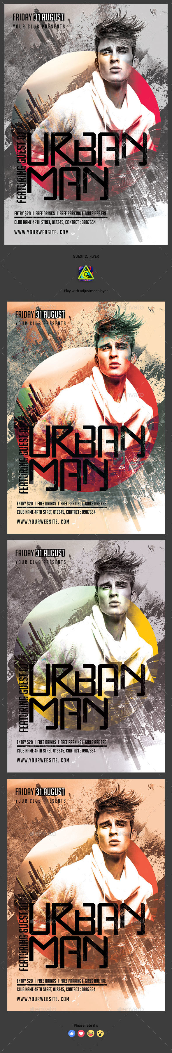 Urban Man Flyer - Clubs & Parties Events